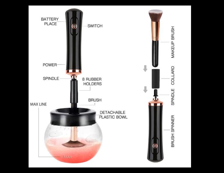 Cordless makeup brush cleaner